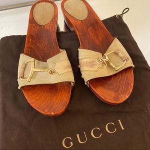 GUCCI Vintage Horsebit Suede Wooden Sandals